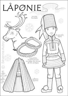 Paper doll to color, Lapland region: northern Finland) Kids Around The World, Around The Worlds, Colouring Pages, Coloring Books, Reindeer Craft, World Geography, Thinking Day, Samar, Craft Stick Crafts