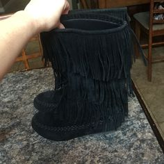 Fringe suede boots girls size 4, women's size 6 Fringe suede boots, girls size 4 but can fit a women's 6 Hotcakes Shoes