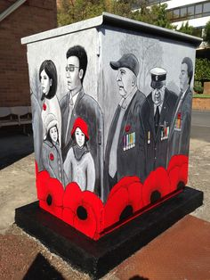 Anzac 2015 Remembrance Mural Back Angle School Murals, Toy Chest, Storage Chest, My Arts, Toys, Artwork, Home Decor, Activity Toys, Work Of Art