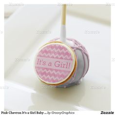 Pink Chevron It's a Girl Baby Shower Cake Pops