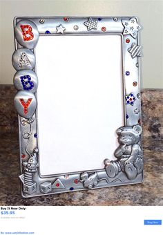 Baby Picture Frames: Baby Picture Photo Frame Pewter + Swarovski Crystals Red White Blue *Handmade* BUY IT NOW ONLY: $35.95 #ustylefashionBabyPictureFrames OR #ustylefashion