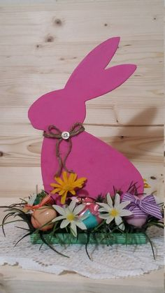 Easter Rabbit Floral Arrangment, Pink Wood Rabbit Decor, Wood Easter Bunny Decor, Easter Bunny Gift Arrangment, Spring Floral Holiday Decor by CindysCrafting on Etsy