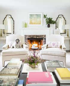 Living Room Design | Demilune Tables + Mirrors flanking fireplace