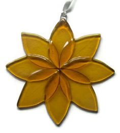 Yellow fused glass flower