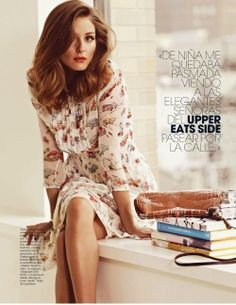 timeless vintage :: print dress & wavy locks :: olivia palermo for marie claire spain / april 2012 [andrew yee]