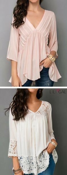 v neck light pink blouse, lace panel white blouse. #liligal #blouse #shirts #top #womenswear #womensfashion