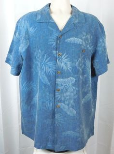 befde5ae Island Shores 100% Silk Button Front Hawaiian Camp Shirt XL Blue Flowers  Pocket #IslandShores