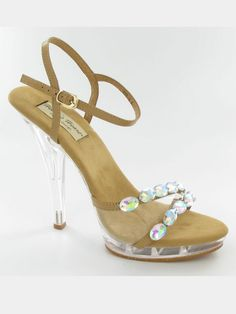"Strappy nude high heeled sandals by Helen's Heart PS-828-6. This gorgeous clear platform heel is absolutely perfect for pageants. Embellish with double rhinestone strap. These shoes are the perfect pairing to any outfit. Constructed in sheep skin and suede, these 4"" platform heels are an ideal complement to any outfit."