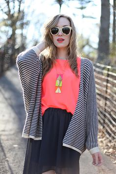 stripes + pop of color + statement necklace + sheer + big sunnies = falling in love