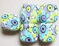 Turple & Green Flower Power PebblesHandmade by BeadygirlBeads