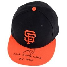 Madison Bumgarner San Francisco Giants Fanatics Authentic Autographed Game Used Black Cap with Orange Bill and 2014 Game Used: WS MVP Inscription