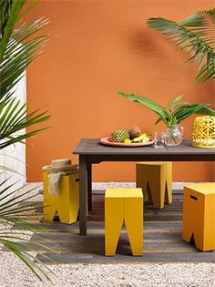 Colourful outdoor dining area