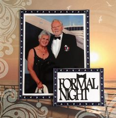 Cruise formal night layout using sunset cruise glitter 12x12 paper, ribbon and a laser cut, all from Sunshine Scrapbooking UK.
