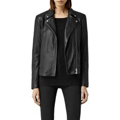 AllSaints Colwick Leather Biker Jacket, Black ($355) ❤ liked on Polyvore featuring outerwear, jackets, slim motorcycle jacket, short leather jacket, leather moto jacket, moto jacket and slim leather jacket