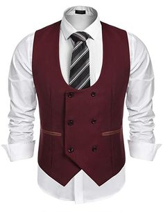 Coofandy Mens Slim Fit Dress Suits Double Breasted Solid Vest Waistcoat -- Check out this great product. (This is an affiliate link) Waistcoat Men, Mens Suit Vest, Man Suit, Mens Evening Wear, Traje Casual, Indian Men Fashion, Fashion Fashion, Slim Fit Dresses, Business Dresses