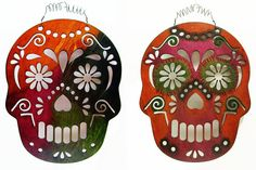 Halloween Cinco De Mayo Hand-painted 12 Two Sided Reversible Sugar Skull Window Wall Laser Cut Wood Hanging Art # 3573  Fall has arrived! This Sugar Skull features my distressed ink stains in traditional Halloween hues. You will not find another decoration like this one of a kind hand-painted piece. Hours of time spent working on this piece over several days. How to use: INDOOR ONLY! 1.) This can be hung on your wall inside and you can switch back and forth between sides to change up your…