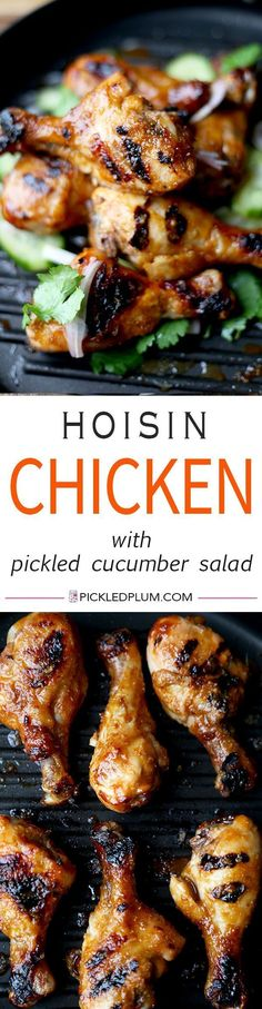 Hoisin with Pickled Cucumber and Shallot Salad - Baked hoisin chicken drumsticks glazed with a sweet and tangy hoisin sauce thats finger licking good simple, easy and the perfect companion to a bowl of steamed white rice! Hoisin Chicken, Chicken Drumsticks, Chicken Curry, Turkey Recipes, Chicken Recipes, Recipe Chicken, Easy Asian Recipes, Healthy Recipes, Pickled Cucumber Salad