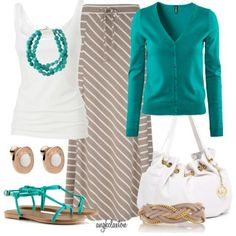 Teal beige and white