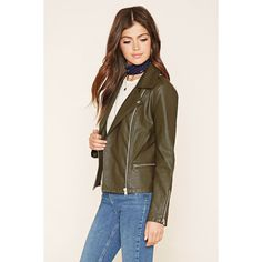 Forever 21 Women's  Faux Leather Moto Jacket ($21) ❤ liked on Polyvore featuring outerwear, jackets, brown jacket, motorcycle jackets, brown moto jacket, vegan leather jacket and brown faux leather jacket