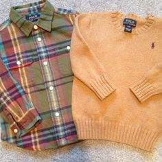 Polo button down & sweater Perfect condition! Adorable outfit. Size 24month Ralph Lauren Shirts & Tops Sweaters