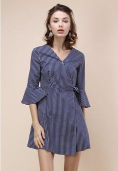 We're bringing you just a little more drama and a LOT more chic with this shirt dress style. Its stripes keep it classic while the sharp silhouette offers a stylish modern twist.  - V-shape neckline - Self-tie wrapped design - Press-studs button fastening on bust - Bell sleeves - No lining - 97% Cotton, 3% Polyurethane  Size(cm)  Length Bust Waist Shoulder Sleeves XS        80    80   68     38      41 S          80    84   72     38   …