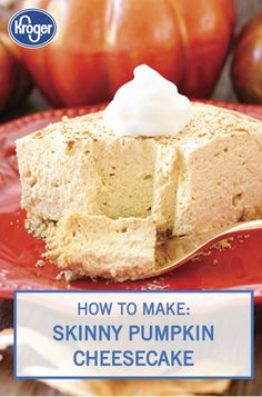 Indulge in your favorite fall dessert guilt-free thanks to this Skinny Pumpkin Cheesecake from Inspired Gathering. Top a graham cracker brown sugar crust with a creamy mixture of Kroger Greek yogurt cream cheese, vanilla, pumpkin puree, pumpkin pie spice, and whipped topping. Click here for the full easy recipe.