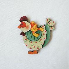 #AD103 - Aplique decorado de galinha