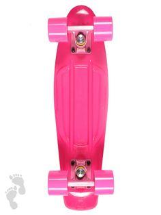 Retro Skateboard Cruiser 22 inch | All Pink Skateboard | twobarefeet.co.uk