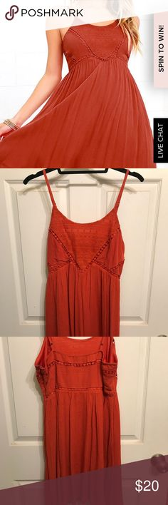 Rust Tank Dress Ordered from Lulus and wore it once on a date. Perfect condition. Side zipper and eyelet hook. Adjustable straps. Lulu's Dresses