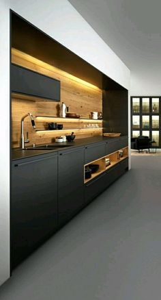 43 Trendy Ideas For Kitchen Design Modern Luxury Open Plan Modern Kitchen Interiors, Luxury Kitchen Design, Kitchen Room Design, Best Kitchen Designs, Home Decor Kitchen, Modern House Design, Interior Design Kitchen, Black Kitchens, Luxury Kitchens