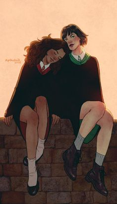 Hermione and Pansy by upthehillart on DeviantArt Fanart Harry Potter, Harry Potter Hermione, Hermione Granger, Draco Malfoy, Pansy Harry Potter, Hermione Fan Art, Harry Potter Couples, Arte Do Harry Potter, Harry Potter Girl