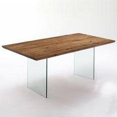 Tavolo Float legno massello e vetro