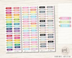 These pencil stickers are great for marking anything school/uni/study related in your planner/diary.   *Message prior to ordering to request another text option - must be school/uni/study related*  • SIZES & QUANTITY • Mini - 2.8cm x 0.7cm - 38 per sheet  • More Pencils • Large Pencils - www.etsy.com/au/listing/506532553 Blank Pencils - www.etsy.com/au/listing/506524175   DISCLAIMERS & EXTRA INFO • Cut with white border around edg...