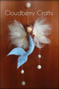 Blue Mermaid - Fairy - Mobile- Guardian Angel-Hanging mobile- Needle Felted-Waldorf- Fiber art-Room Decoration-Birthday Present,Gift, Mobile