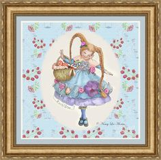 """Fun art for a girl's room! """"Karli Star With Butterflies And Raspberries"""" © Nancy Lee Moran is on Fine Art America. Click the image to see it, then to choose your own mat, frame, and print size. This three-inch frame is #VN7 Ornate (in the """"Gold"""" drop-down menu). Mat is French Blue, 1.5 inch wide. Inner mat is Manor White in size 0.25 inches. Print size as shown is 24 x 24 inches. #blue #braids #cute #mushrooms #purple #raspberries #redhead #whimsy #FineArtAmerica #NancyLeeMoran"""
