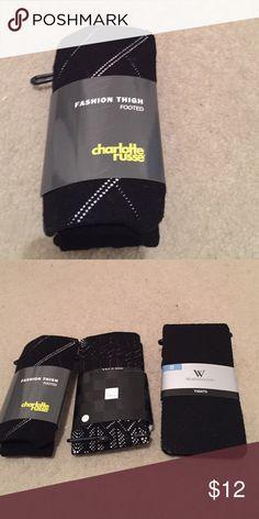 Stocking Charlotte Russ,  SAK Fifth,  two pair size ML last pair is Worthington size SM Accessories Hosiery & Socks