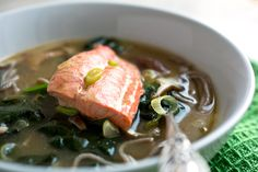 // Noodle Bowl With Mushrooms, Spinach and Salmon