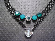 Swarovski Crystal Necklace/ Crystal and Gunmetal Necklace/Statement Necklace/ 12mm Single Stone Necklace