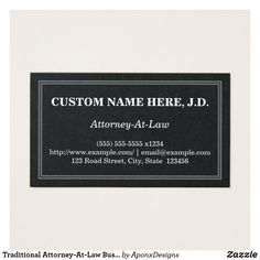 Traditional Attorney-At-Law Business Card Attorney At Law, Card Designs, Lawyer, Letter Board, Business Cards, Names, Traditional, How To Make, Card Templates