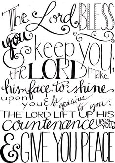 The Lord Bless You and Keep You - Full Verse / Numbers 6:24 / Printable / 5x7 / Instant Download