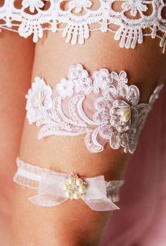 Bridal Garter Set Wedding Garter Set  Ivory Lace by NAFEstudio