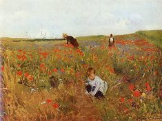 Mary Cassat, Picking Flowers in a Field 1875