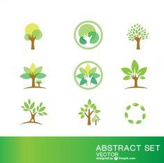 Symboles de l'écologie fixés Vecteur gratuit