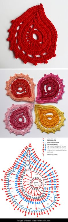 Free crochet chart pattern for these Russian Paisley Motifs via Bizzy Hands. Crochet Paisley, Irish Crochet Patterns, Crochet Motifs, Crochet Diagram, Freeform Crochet, Crochet Art, Thread Crochet, Crochet Crafts, Crochet Flowers