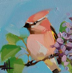 Cedar Waxwing no. 44 original bird and lilac oil painting by Angela Moulton 6 x 6 inch #prattcreekart