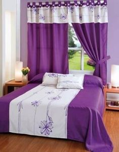 Bedroom Window Curtains Ideas Beds New Ideas Bedroom Layouts, Bedroom Sets, Bedding Sets, Bedroom Decor, Bed Cover Design, Bed Design, Purple Bedrooms, Curtain Designs, Home Decor Furniture