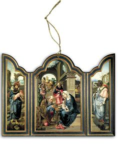 Adoration of the Magi (Dark Blue) Triptych Wood Ornament - Catholic to the Max - Online Catholic Store