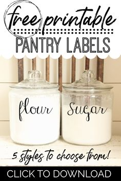 FREE Printable Kitchen Pantry Labels - 5 Hand Lettered Labels to Instantly Organize Your Kitchen! - A Country Girl's Life Kitchen Labels, Kitchen Stickers, Kitchen Pantry, Kitchen Ideas, Kitchen Stuff, Kitchen Hacks, Kitchen Gadgets, Kitchen Design, Pantry Organization Labels