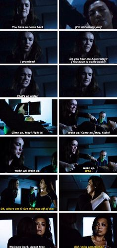 """""""You have to come back. I'm not losing you. I promised. Do you hear me Agent May?! That's an order!"""" - Jemma, May and Dr. Radcliffe #AgentsOfSHIELD"""