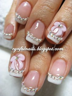 Maybe for the ball, will go perfect for my dress :) #pink and white #rhinestones #3D bows #acrylic #nail art #bridal #party